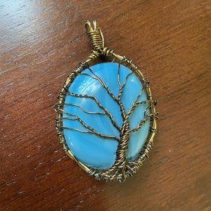 Blue stone wire work tree pendant